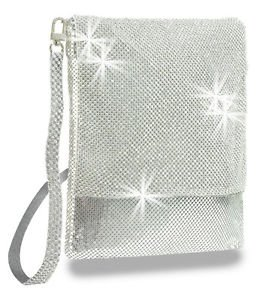 Rhinestone Accent Metal Mesh Cross Body Sling Handbag Purse Bling Messenger Bag