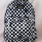 Black Backpack Checkered  School Pack Bag Hiking Day Rucksack Travel Carry On