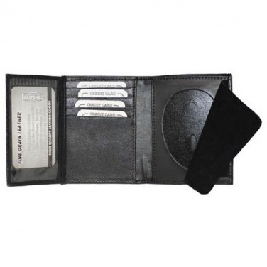 ID Holder Wallet Genuine Leather Black  Cut Out  ID Pocket Free Shipping Badge