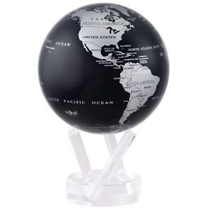"MOVA Globe Silver Black Metalic Rotating Motion  4.5""  Spinning Moving Earth"