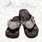 Montana West Camo Floral Flip Flops Women Wedge Sole Sandals Bling Concho Pink