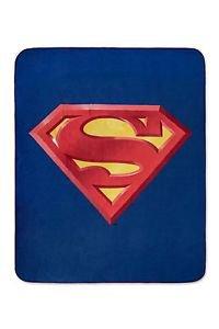 "SUPERMAN Shield Logo Fleece Blanket 50"" x 60 Officially Licensed Throw Soft Warm"