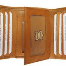 Leather Trifold Wallet Genuine Cowhide Leather Window ID Credit Card Tan