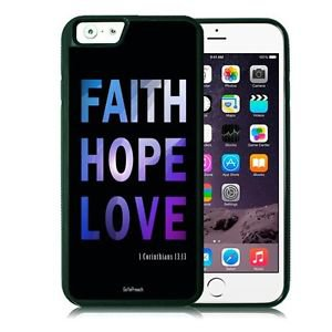 Faith Hope Love Christian Fits iPhone 6 Cover JESUS Free Ship Cell Rubber