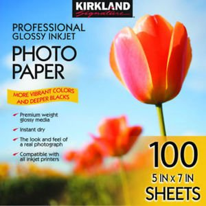 "Kirkland Signature Photo Paper 5"" X 7"" Professional Glossy 100 Sheets Printer"