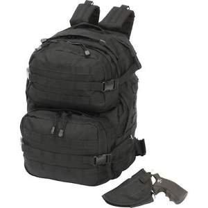 Black Backpack with Concealed Handgun Holster Gun Pack MOLLE Strap Extreme Pak�