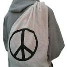Peace Sign Baja Duffle Yoga Bag Back Pack Beach Natural 100% Cotton New