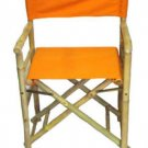 "Bamboo Folding Director's Chair Set Of 2 Canvas 8 Colors Fabric Seat 34"" High"