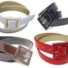 "Patent Leather Cinch Belt Enamel Buckle Fashion Casual Gloss Dress Office 1 1/4"""