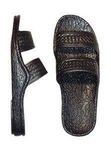 Pali Hawaii Sandals 405 Black Unisex  Soft Rubber Slip On Slide Jesus Beach