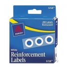 """White Avery Hole Reinforcements 200 1/4"""" Diameter   Binder Notebook Paper Holes"""