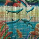 Natural Bamboo Beaded Curtain Dolphin  Beads Window Doors Room Divider Surf Fish