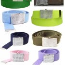 Canvas Military Army Belt with Rhinestone Buckle Web Bling