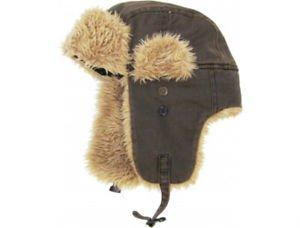 Unisex Dark Brown Canvas Trapper Hat Faux Fur Warm Winter Aviator Bomber Hunting