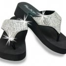 Rhinestone Wedge Flip Flops Sandals Bling Black Gems Thong Fashion Platform