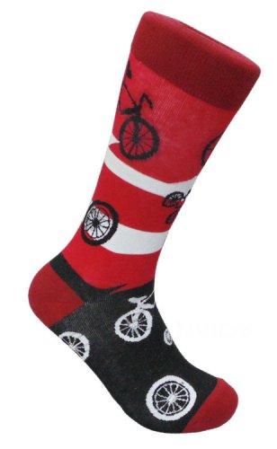 Bicycle Bike FineFit Mens Fun Novelty Socks Red Size 10-13 Dress Sox Cycle