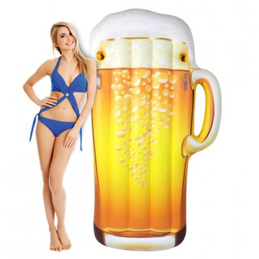 Pool Float Happy Hour Beer Mug Inflatable Ocean Beach 6 FOOT Raft Floating Float