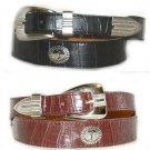 Mens Black or Brown Alligator Grain Leather Belt with Golfer Conchos  1 1/3 IN