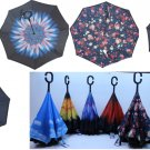 Inverted Upside Down Umbrella Rain C Handle Reverse Opening 2 Layer Inside Out
