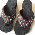 P&G Collection Flip Flops Cross Turquoise Colored Stone Studs Brown Sandal SZ 7
