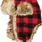 Red Black Plaid Trapper Hat Faux Fur Warm Winter Aviator Bomber Trooper Hunting