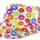 Lips Fedora Hat Colorful Kisses Printed on White Cap Multi Color Fun Party