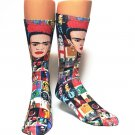 FRIDA Kahlo Novelty Socks Sox Casual Sz 7-13 Dress Premium Multi Color Graphic