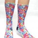 TYE DYE CAT Mens Novelty Socks Sox Casual Sz 7-13 Kitty Kitten Pet Face Tie Dye