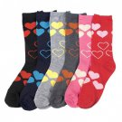 6 Pairs MAMIA HEARTS Crew Fashion Design Socks Size 9-11 Multi Color Girl SOX
