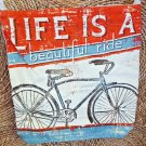 Life Is A Beautiful Ride Bike Bicycle Messenger Canvas Bag Satchel Purse Tote