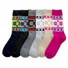 6 Pairs MAMIA Snowflake Crew Fashion Design Socks Size 9-11 Multi Color Girl Lot