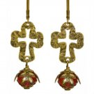 Sanctuary Cross No Monet Earrings Gold Red Cream Crystal Hand Crafted in USA