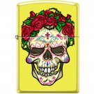 ZIPPO Skull With Roses Neon Yellow Lighter Sugar Skull Windproof Engravable New