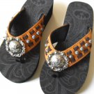 Cowgirl Flip Flops P&G Collection Conchos Studs Studded Leather Brown Tan Sandal