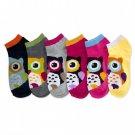 6 Pairs MAMIA Big Owl Low Cut Fashion Design Socks Size 9-11 Girl SOX Lot Of 6