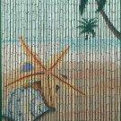 Natural Bamboo Beaded Curtain Star Fish Beach  Window Doors Room Divider New