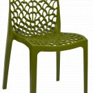Patio Chairs Indoor Outdoor Set Of 2 Olive Green Stackable Dining Cafe Garden