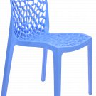 Patio Chairs Indoor Outdoor Set Of 2 Blue Stackable Dining Cafe Garden Porch