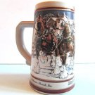 BUDWEISER Holiday Clydesdale Hitch Christmas Beer Stein 1989 Collectors Series