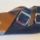 H2K Karen Glitter Black Fashion Slides Flip Flops Sandals Bling Slides Straps