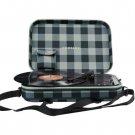 Crosley Messenger Gray & Black Checkerboard Record Player 3 Speed Portable