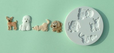 FOOD GRADE MOLD - Animal Theme (small dogs) - Cake Decorating Mold - The Art of Cake Dressing - (02)