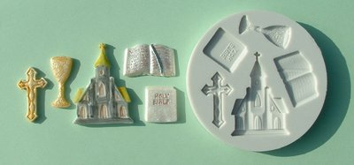 FOOD GRADE MOLD - Communion Theme - Cake Decorating Mold - The Art of Cake Dressing - (05)