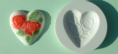 FOOD GRADE MOLD - Heart with Roses Design - Cake Decorating Mold - The Art of Cake Dressing - (08)
