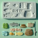 FOOD GRADE MOLD - Gone Fishing Theme Design - Cake Decorating Mold - The Art of Cake Dressing - (15)