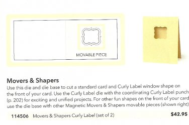 BIG SHOT - SIZZIX MOVERS & SHAPERS CURLY LABEL DIE - STAMPIN' UP! - NEVER USED