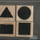 LITTLE SHAPES - STAMPIN' UP! - 2000 Retired Set - MOUNTED Little if any Staining
