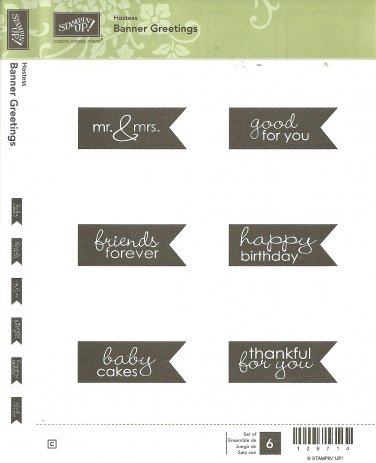 BANNER GREETINGS - STAMPIN' UP! - Hostess Retired Set - NEW - CLEAR MOUNT