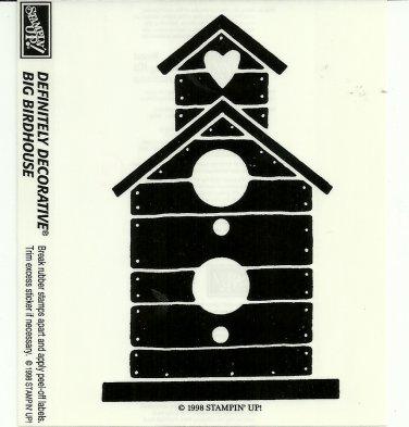 BIG BIRDHOUSE - STAMPIN' UP! - Retired 1998 NEW UNMOUNTED Definitely Decorative