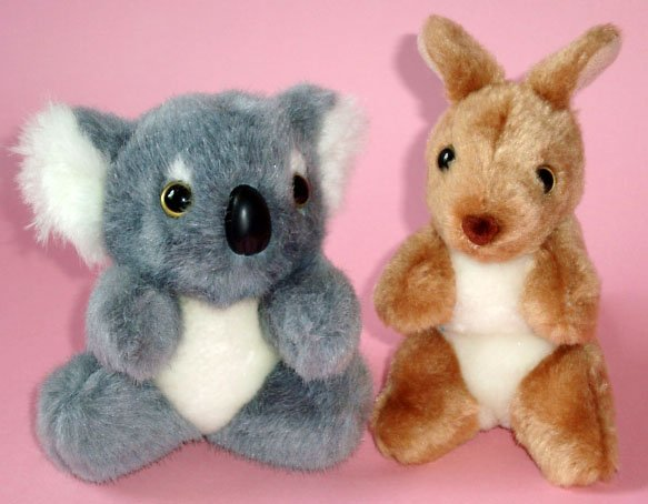 "Koala & Kangaroo Plush Toys (2) ~ 5"" high, Post from Australia"
